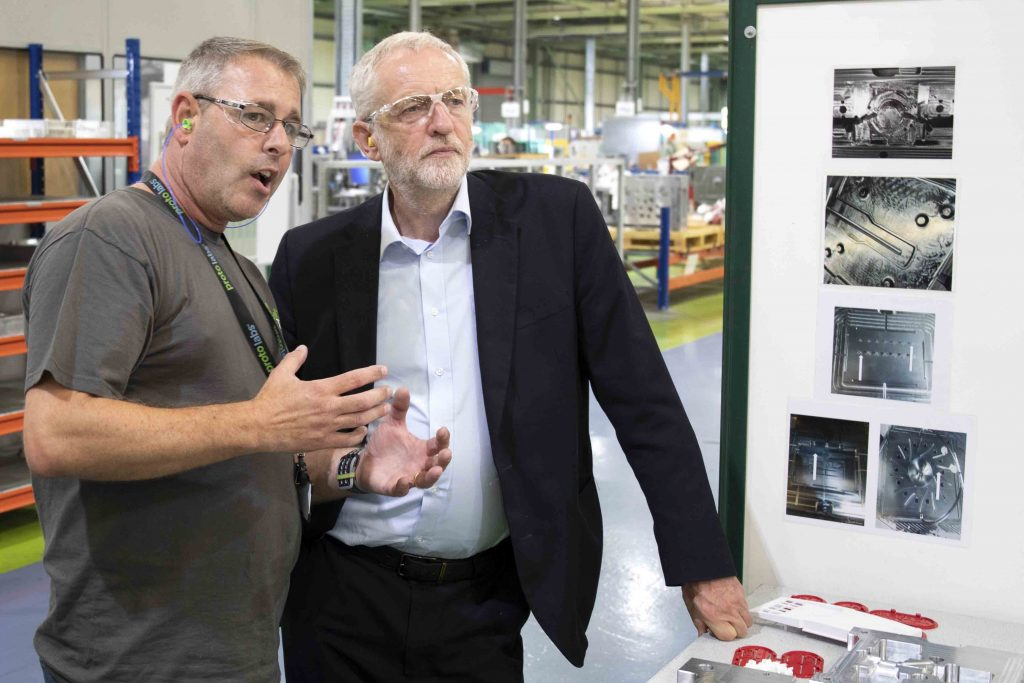 Jeremy Corbyn tours the Protolabs manufacturing facility in Telford. Photo via Protolabs.