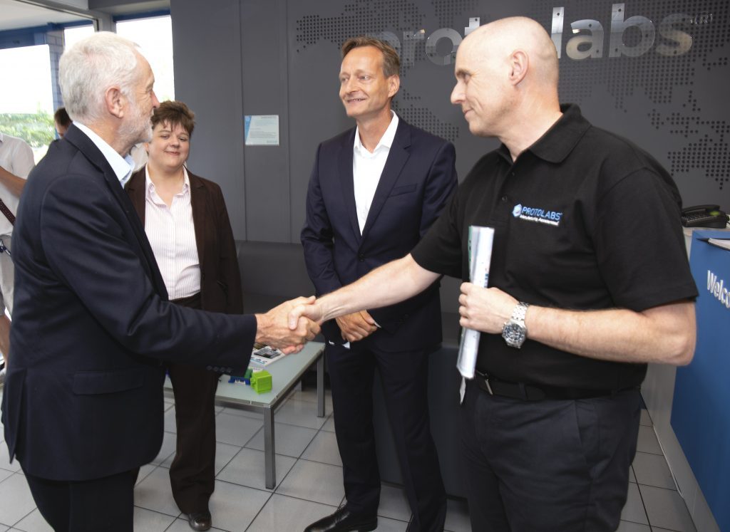 Jeremy Corbyn meeting Bjoern Klaas (centre), Protolabs Vice President and Managing Director for Europe, and Stephen Dyson, Protolabs Special Operations Manager, at the Protolabs manufacturing facility in Telford. Photo via Protolabs.