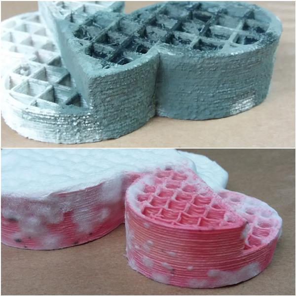 GROWLAY can be used for cheese mold. Gorgonzola (blue) and a white cheese on pink colored GROWLAY. Photo via Lay Filaments.