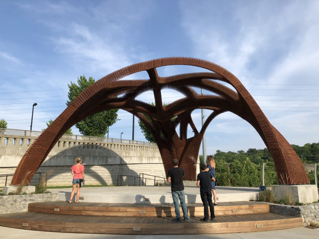 The 3D printed OneC1TY bandshell pavilion. Photo via Branch Technology.