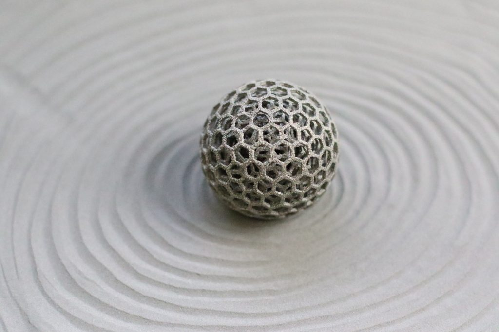 Metal 3D printed sphere. Photo via Addaero