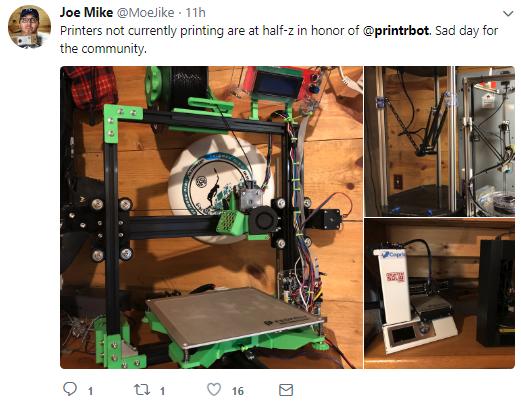 Joe Mike, YouTube: JoeMikeTerranella, sets his 3D printers to half z for Printrbot. Screengrab via Joe Mike, @MoeJike on Twitter