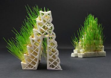 Kai Parthy's GROWLAY filament seeded with grass. Photo via Lay Filaments.