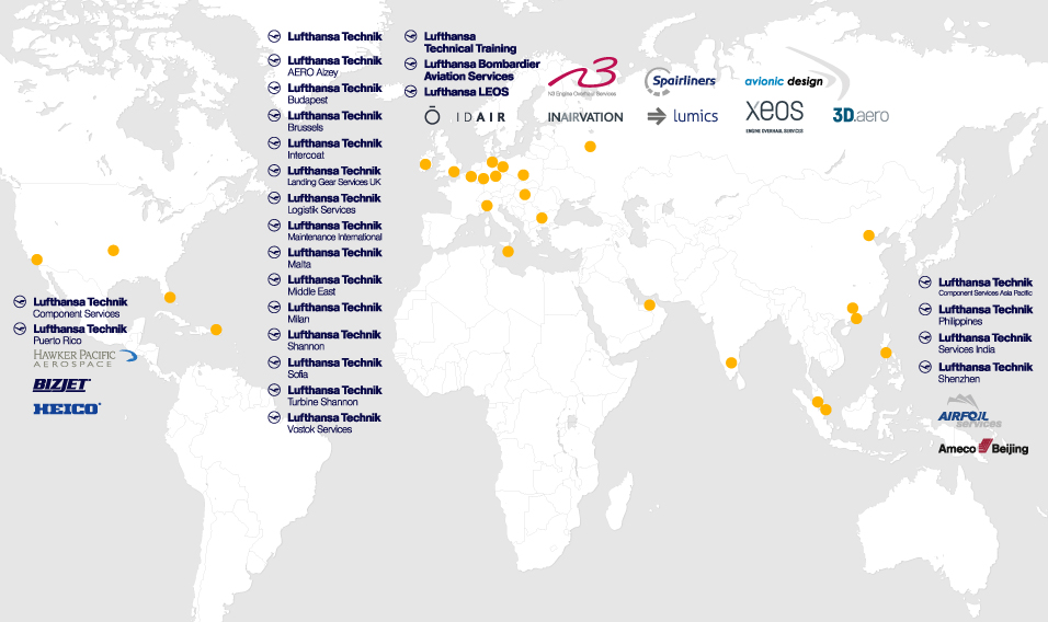 World Map of Lufthansa Technik Group Location. Image via Lufthansa Technik