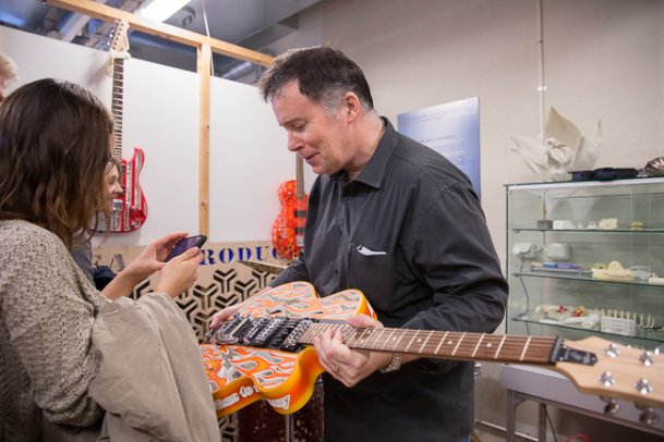 Prof Olaf Diegel demonstrating a 3D printed guitar.