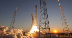 The Telstar 19 was launched on aboard the SpaceX Falcon 9 rocket launch. Photo via Visit Space Coast.