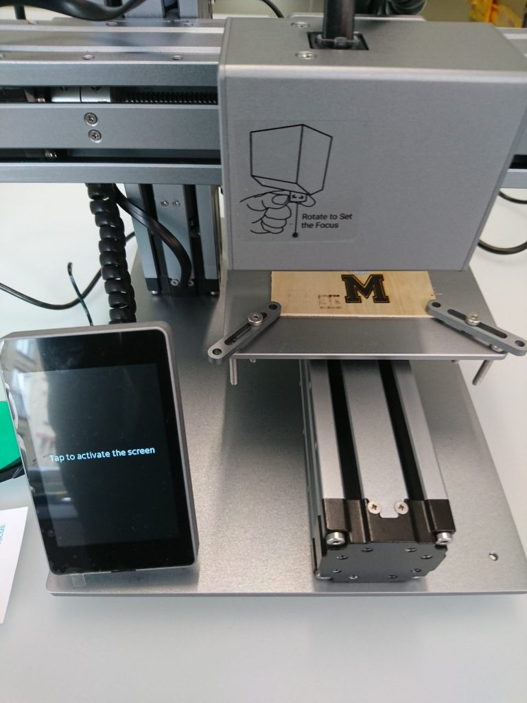 The laser engraving module attached to the Snapmaker 3-in-1 3D printer.