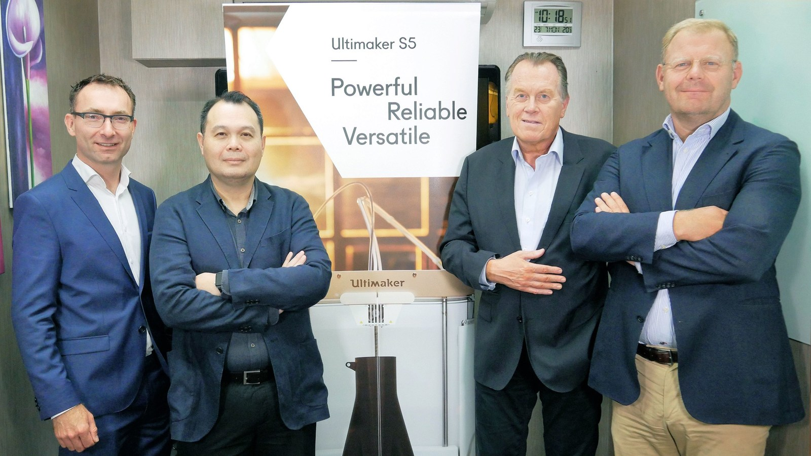 Opening Ultimaker's Singapore office (left to right): Siert Wijnia (CTO), Benjamin Tan (VP APAC), Jos Burger (CEO), Paul Heiden (SVP Product Management. Photo via Ultimaker.