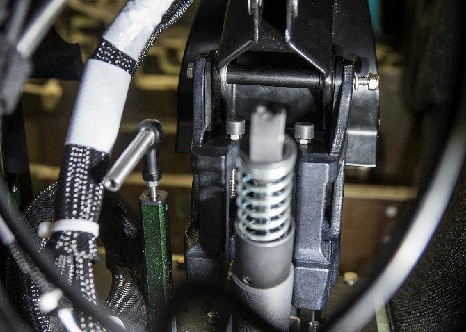 An example of an end-use production part: a toe brake stop bracket in a training cockpit. Photo via Lockheed Martin.