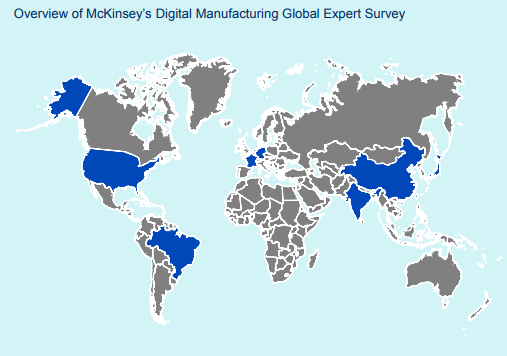 An overview of the countries surveyed. .Image via McKinsey Digital Manufacturing Global Expert Survey 2018.