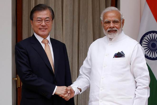 Korean Trade Minister, Kim Hyun-chong (left) and Prime Minister of India, Narendra Modi. Photo via Financial Express.