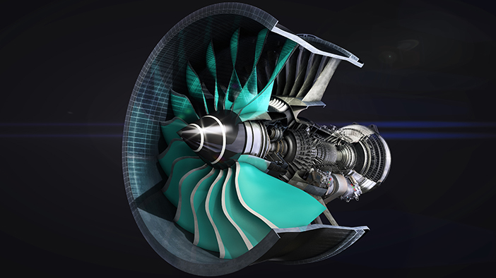 A cutaway artist's impression of the UltraFan engine. Image via Rolls-Royce.