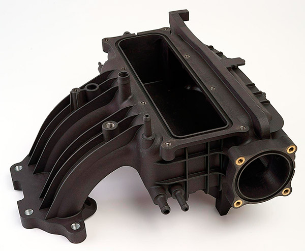 3D printed Automotive intake manifold functional prototype - material Windform SP. Image via Windform.