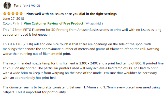 "According to Terry, a Vine Voice contributor, ""This 1.75mm PETG Filament for 3D Printing from AmazonBasics seems to print well with no issues as long as your print bed is hot enough."" Screengrab via Amazon"