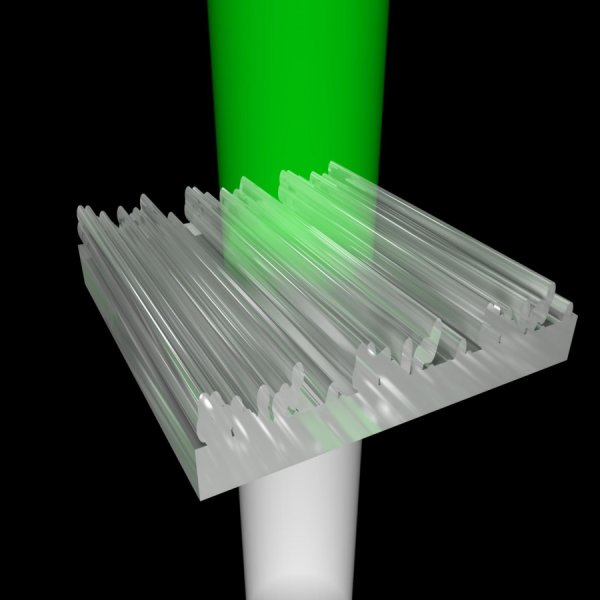 The design tool shows light hitting a 3D printed nanostructure from below. After it is transmitted through, the viewer sees only green light and the remaining colors are redirected. Image via Thomas Auzinger.
