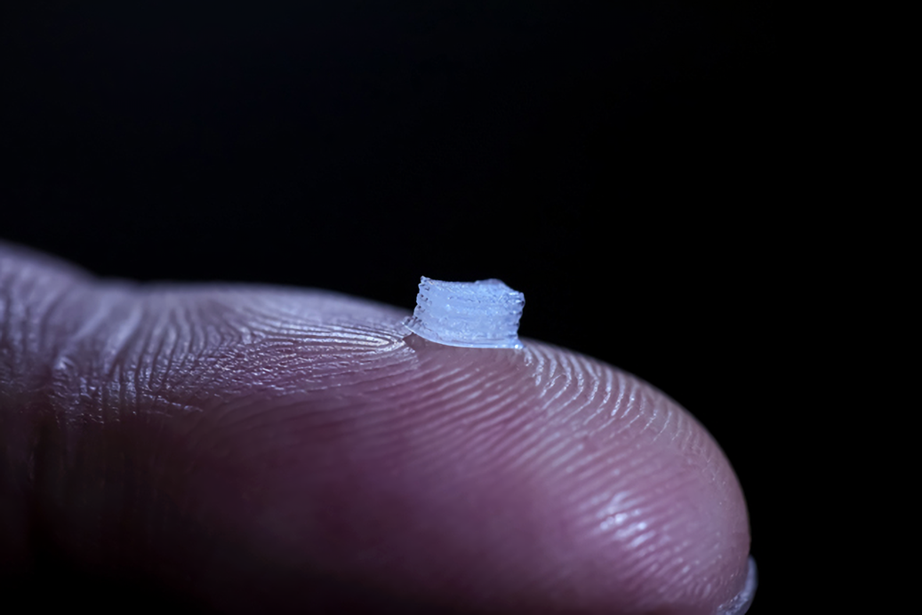 3d printed spinal scaffold. Photo via University of Minnesota