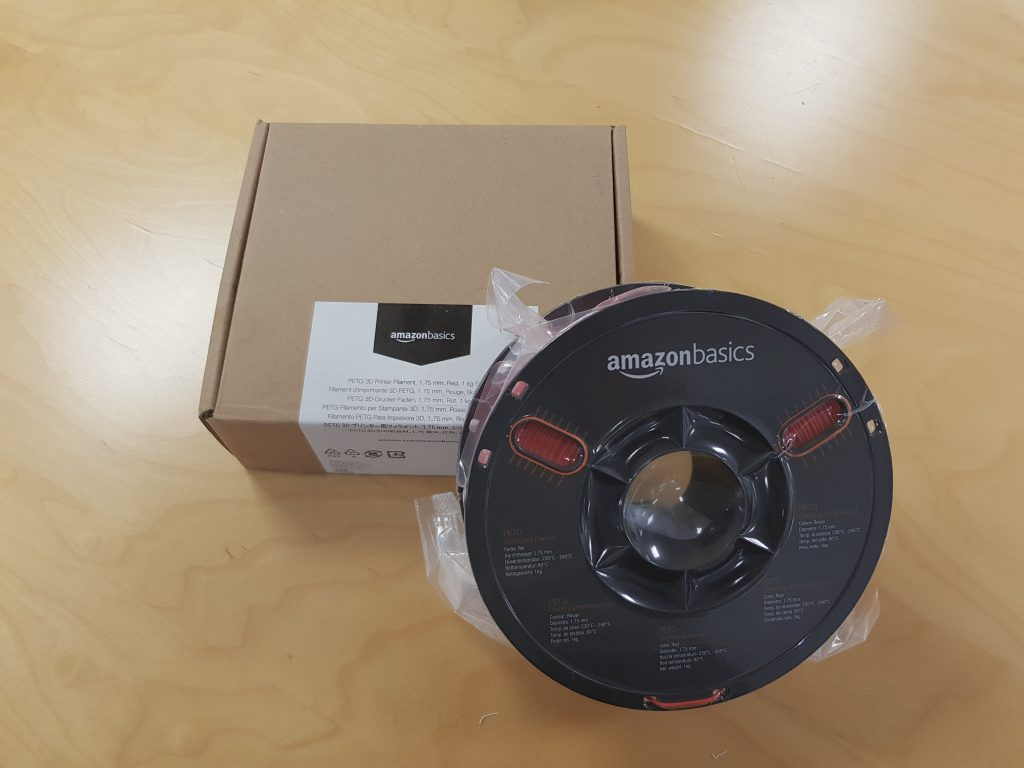 Unboxing Amazon Basics red PETG filament. Photo by 3D Printing Industry