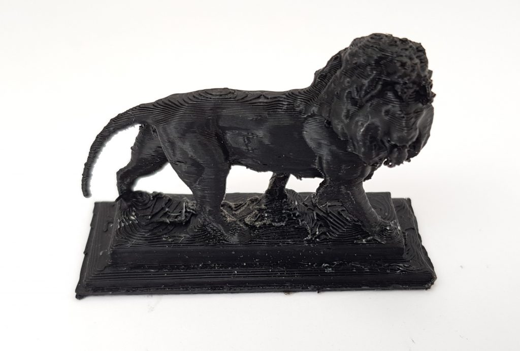 Maiwand Lion 3D printed in Amazon Basics black PLA. Photo by 3D Printing Industry