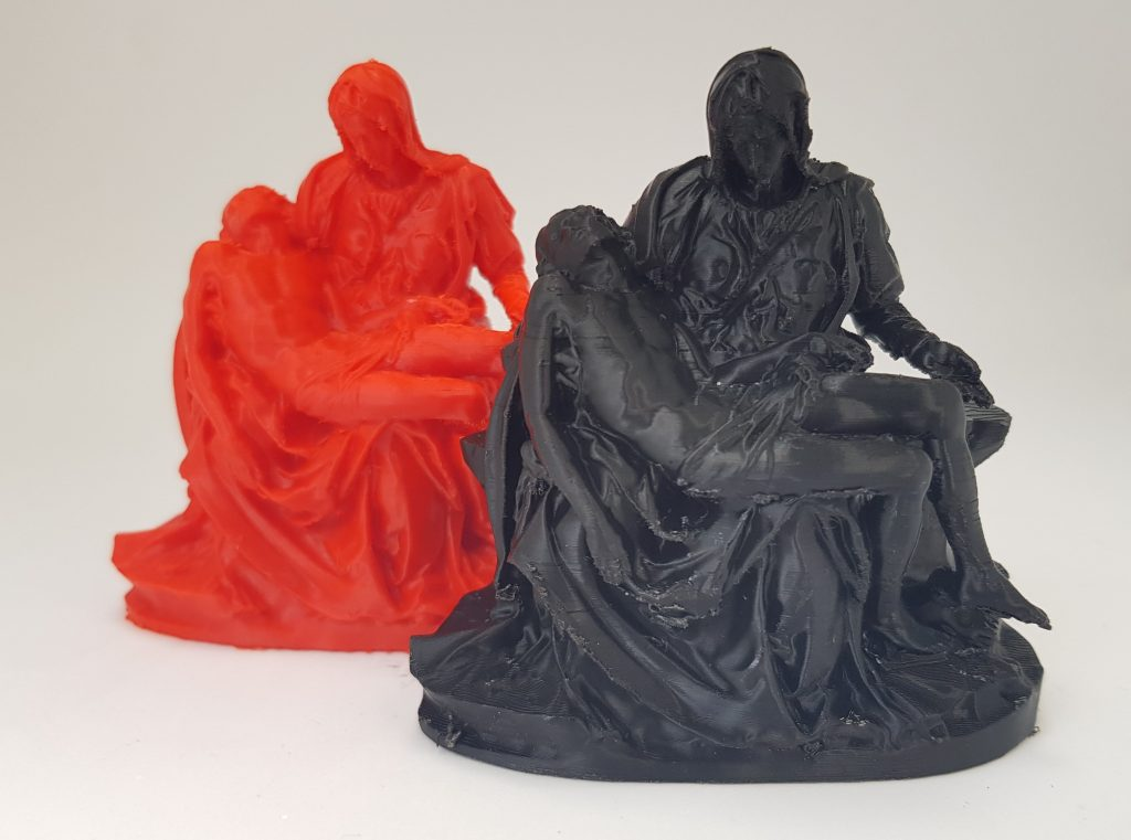 Michelangelo's Pietà in Amazon Basics red PETG and black PLA. Photo by 3D Printing Industry