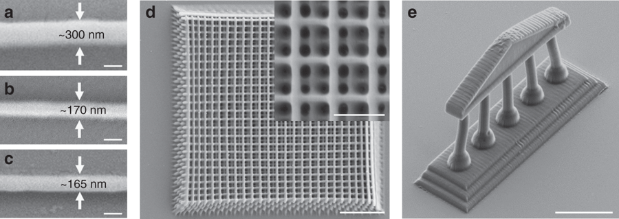 Sample 3D nano printed lattice and Greek temple. Scale bar: 10 μm. Image via Nature Communications