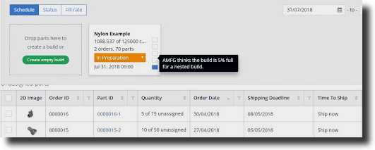 AMFG's Holistic Build Analysis tool provides fill rate estimation as a percentage. Image via AMFG.