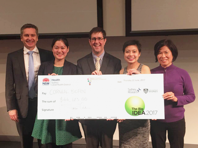 (Left to Right)Professor Gerard Sutton, Dr. Jingjing You, Dr. Simon Cooper, PhD student Hannah Frazer and Dr. Li Wen receiving the Big Idea Grant at the Vision Eye Institute. Photo via the University of Sydney.