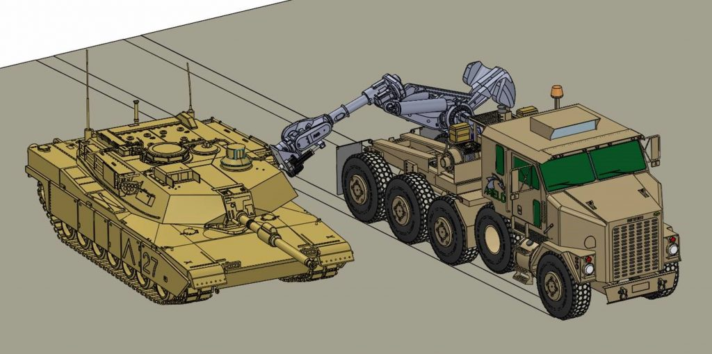 Concept drawing of MELD additive manufacturing repair at a forward operating base. Image via MELD Manufacturing