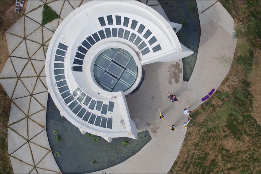 An aerial view of the Lotus House. Photo via WashU.