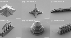 Micro monuments 3D printed as test structures in KIT's erasable ink study. Image via Nature Communications, Supplementary Information