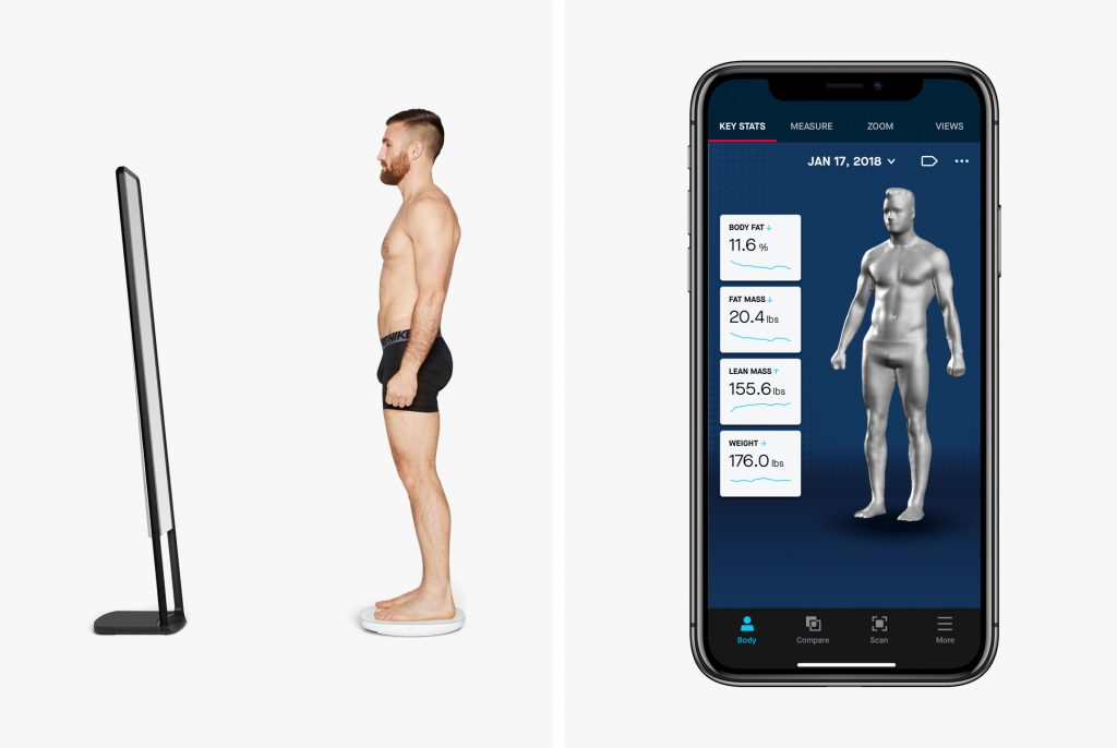 The image shows Naked's home 3D fitness scanner with a 3D scan in the Naked app. Image via Gear Patrol