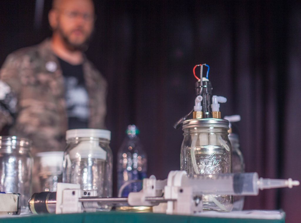 The new 3D printable kit for homebrewing medication at the HOPE Conference in New York City on July 20, 2018. Photo via The Parallax/ Seth Rosenblatt.