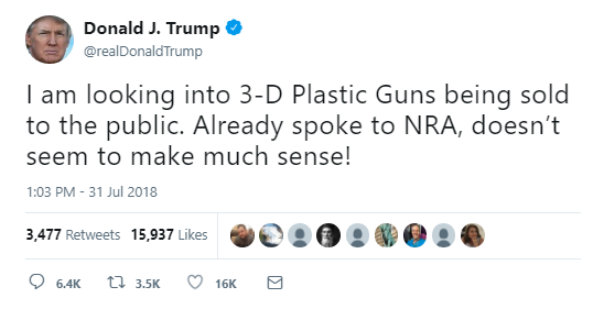 "The President say he is ""looking into 3-D Plastic Guns."" Image via Twitter"
