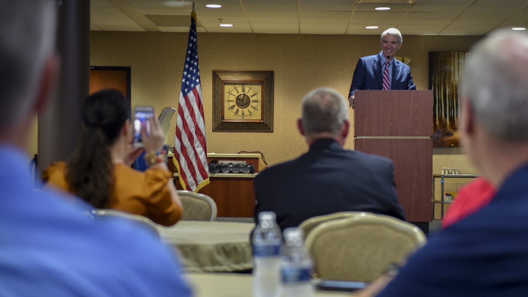 Sen. Rob Portman speaking at the EOMAC meeting at the Community Activity Center on Youngstown Air Reserve Station. Photo via U.S. Air Force /Senior Airman Noah J. Tancer.