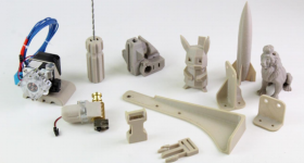 PAEK-based 3D printed parts from E3D Online and Victrex. Photo via E3D Online.
