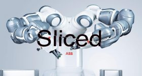 Sliced logo over an ABB robotic arm. Original image via ABB.