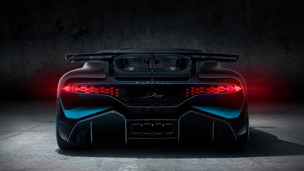 A rear view of the Bugatti Divo which features 3D printed fin tail lights. Photo via Bugatti.