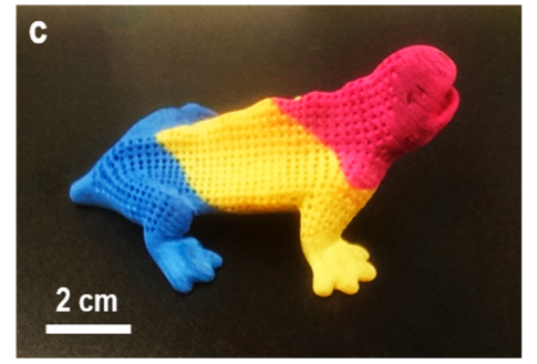 A multicolored 3D dragon printed with colored powders made from mixing GNR, PA12 and commercial dyes. Image via American Chemical Society