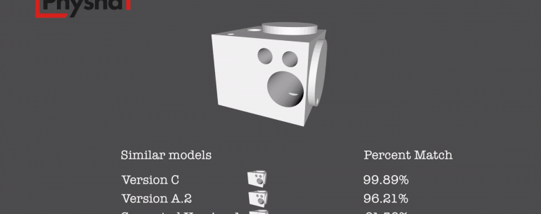 Demonstration of how Physna identifies similarities between 3D models in a database. Image via Physna