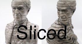 Sliced logo of a metal 3D printed bust of Thomas Edison. Original photo via GE Additive