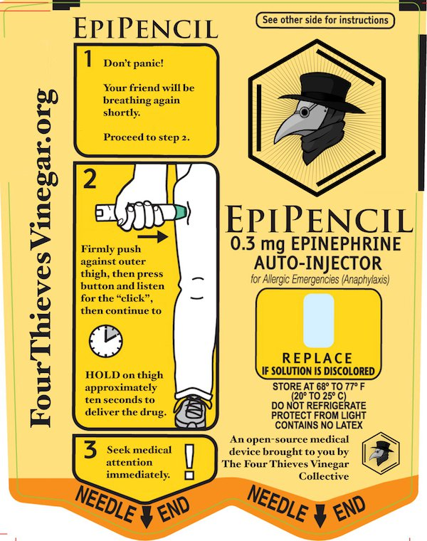 Instructions for the 3D printed EpiPencil. Image via the Four Thieves Collective.