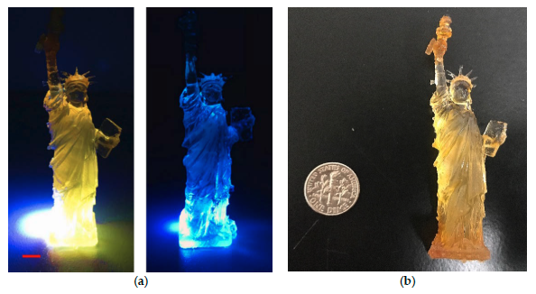 A glowing Statue of Liberty 3D printing using the University of Miami's quantum dot material. Image via Polymers journal.