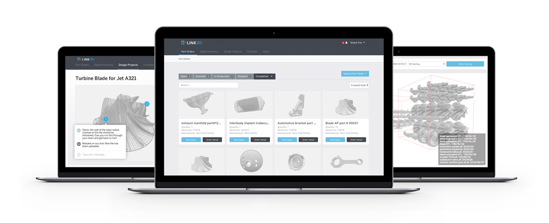 The Link3D Digital Factory user interface where parts are designed and produced. Image via Link3D.