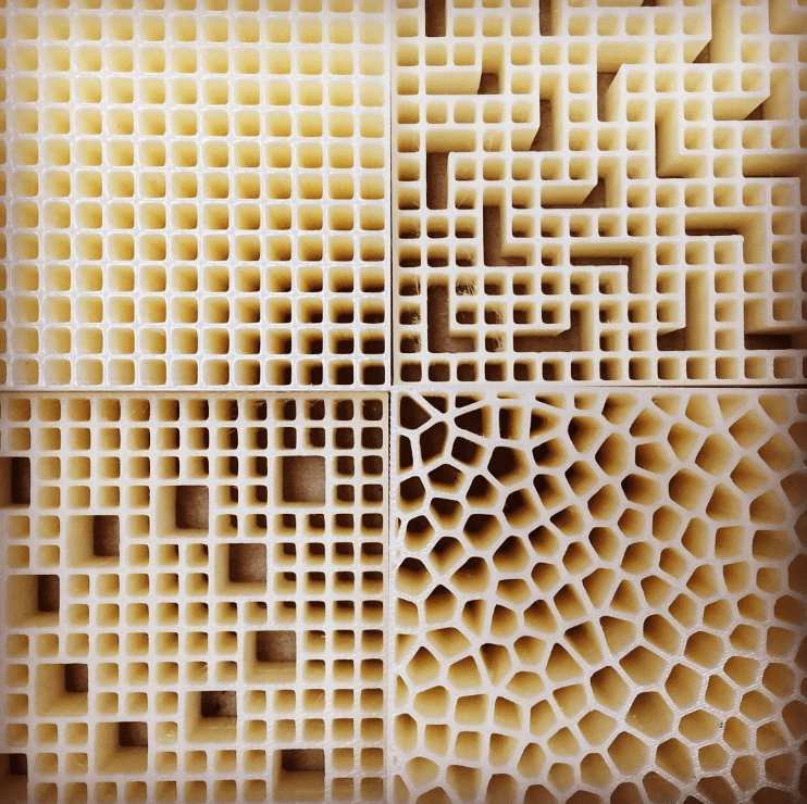 3D printed prototypes of honeycomb structures. Photo via PADT.
