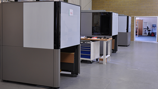 NEO800 3D printing systems at the RPS facility in Aylesbury, Buckinghamshire. Photo via RP Support.
