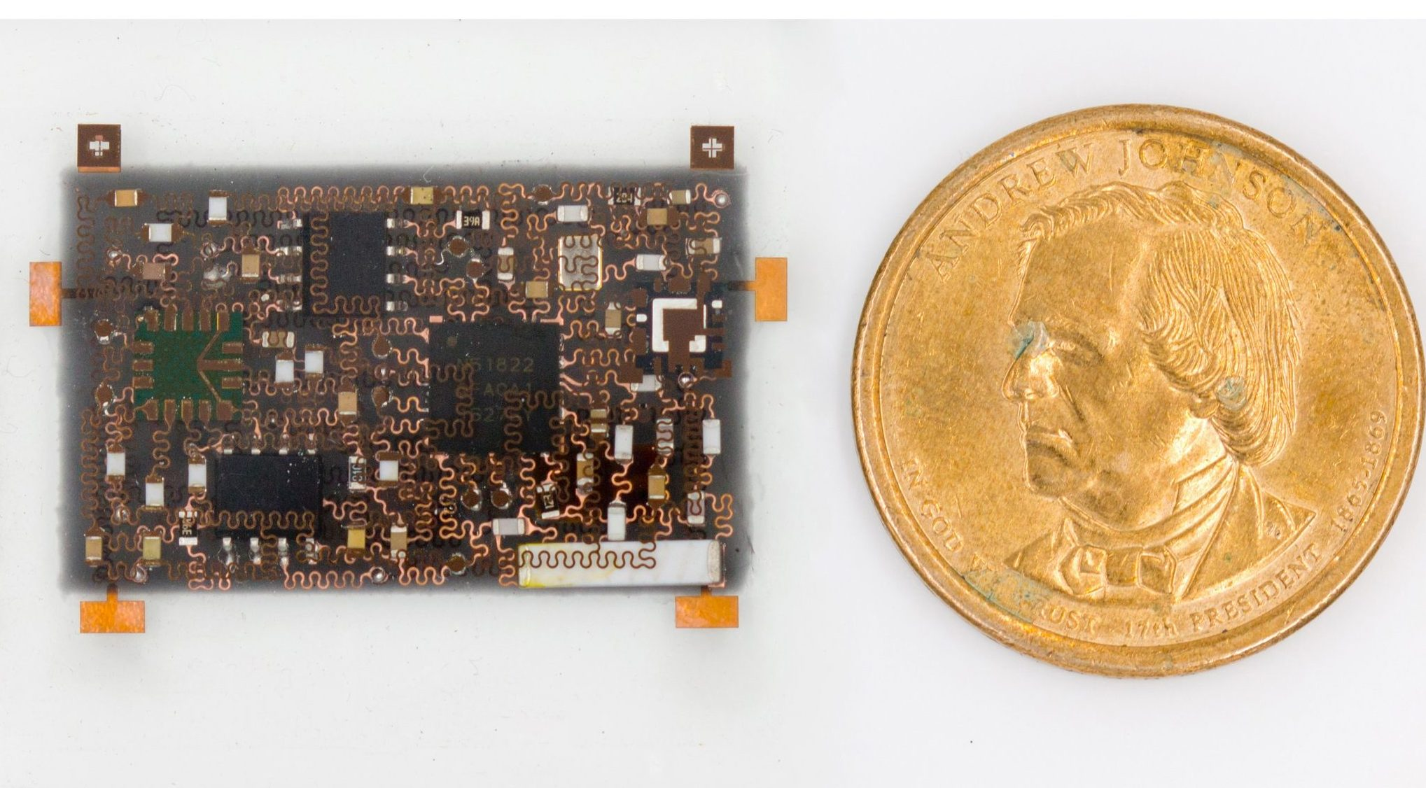 The 3D smart bandage is the same size and width of a U.S. Dollar coin. Photo via UCSD.