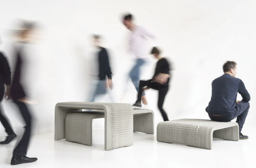 Woven concrete 3D printed benches. Photo via Studio 7.5.