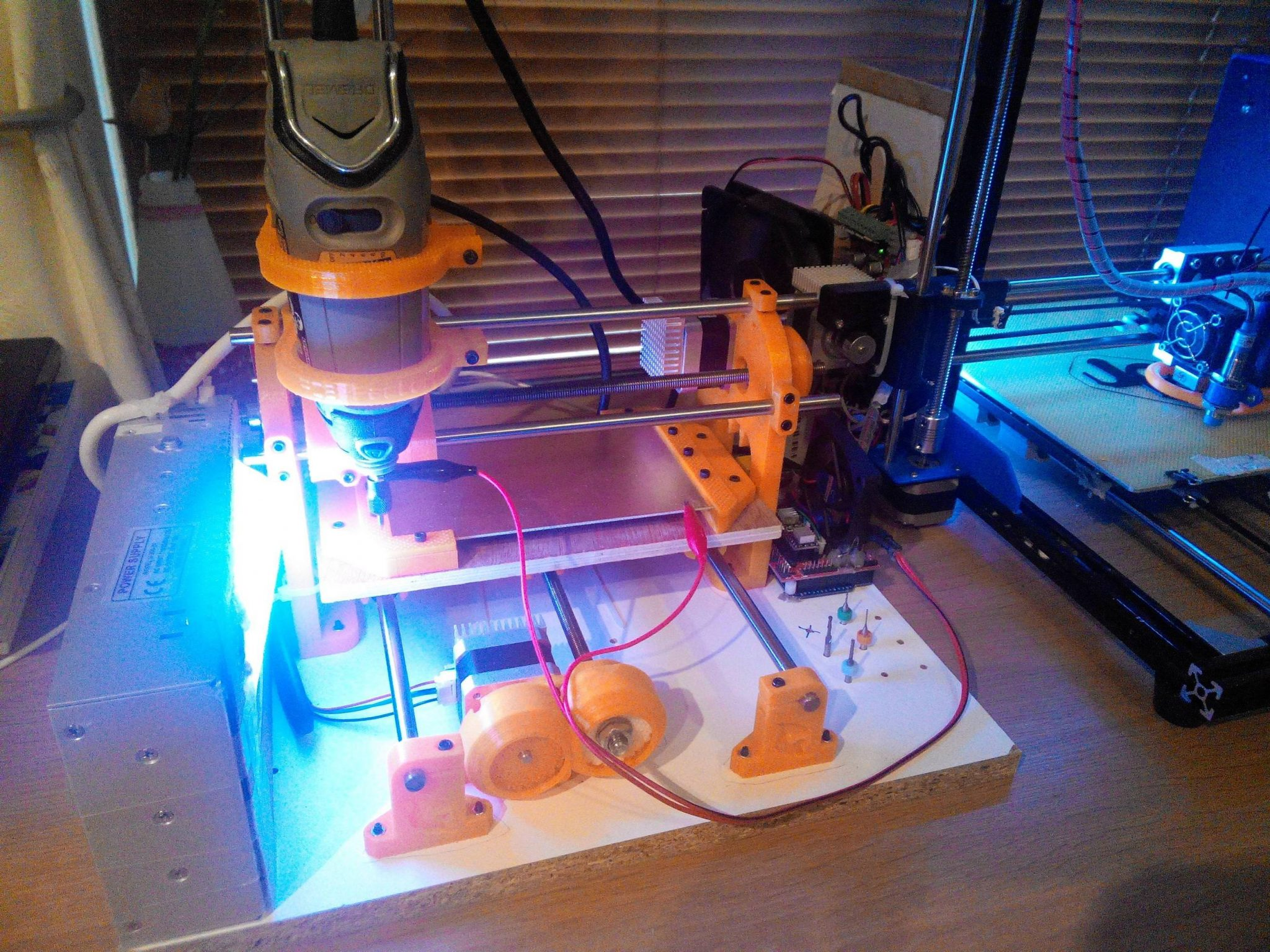 Marioarm's 3D printed CNC machine. Photo via Imgur