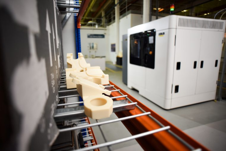 3D printed tooling produced on the Stratasys F900 Production 3D Printer. Photo via Stratasys.