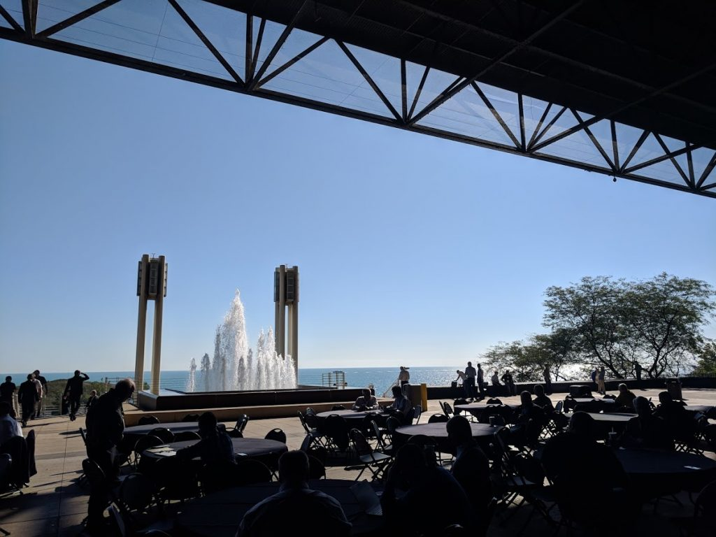 A view of Lake Michigan from the East Hall at IMTS 2018. Photo by Michael Petch.