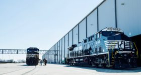 Locomotives outside GE Transportation, Fort Worth, Texas. Photo via GE Reports